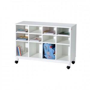 Mueble casillero blanco con ruedas, mobiliario para servicios generales, GP0612500, Material de almacenaje, material escolar infantil.