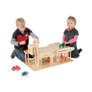 Garaje de juguete, garaje de madera, GC0000204, Juegos y actividades infantiles, juguetes de madera, material para niños, decoración escolar, material escolar, ludoteca, equipamiento de guardería, equipamiento escolar infantil, material infantil, jardín de infancia