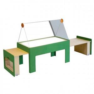 Mesa luminosa extraíble extensible, mesa con realce en plexiglás, GA0243402, experiencia y creatividad, GA0243400, bordes redondeados, mesas y sillas, Mobiliario escolar infantil, jardín de infancia, educación infantil, Montessori.
