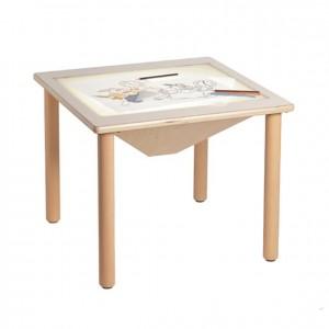 Mesa luminosa, mesa de madera, experiencia y creatividad, GA0243303,. bordes redondeados, esquinas redondeadas, antigolpes, mesas y sillas, Mobiliario escolar infantil, jardín de infancia, educación infantil, Montessori.