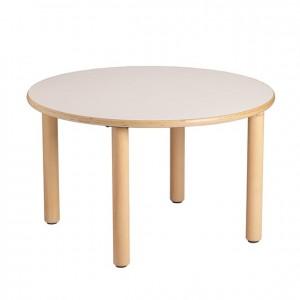 Mesa redonda, mesa de madera, GA0243000, bordes redondeados, esquinas redondeadas, antigolpes, mesas y sillas, Mobiliario escolar infantil, jardín de infancia, educación infantil, Montessori.