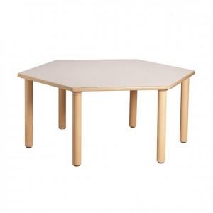 Mesa hexagonal, mesa de madera, GA0242200, bordes redondeados, esquinas redondeadas, antigolpes,, mesas y sillas, Mobiliario escolar infantil, jardín de infancia, educación infantil, Montessori.