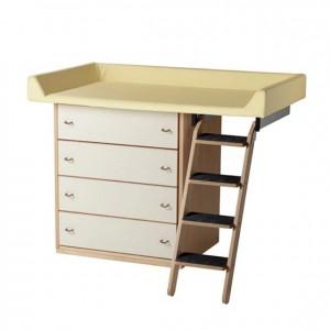 Mueble cambiador, GA0230001, mobiliario para la higiene y el cuidado, mueble cambiador con escalera, mueble cambiador con cajonera.