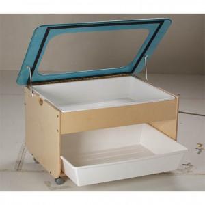 Mueble con ruedas para agua y arena con tapa, método maria montessori, escuela infantil GA0261300