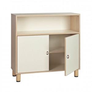 Armario de madera con estante superior abierto y dos puertas GA0252200