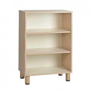 Estantería con 3 estantes, dos baldas y patas de madera