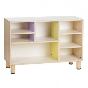 Mueble casillero de madera con casillas o estanterías de colores de diferentes tamaños GA0251900