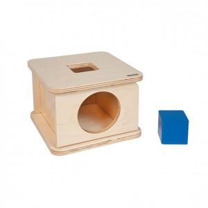 Caja de permanencia con cubo azul, GM256N000, material montessori, material 0-3 años, material escolar infantil.
