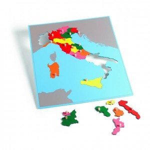 Puzzle mapa de Italia, GM223BIT0, material montessori, geografía, material escolar infantil.