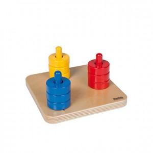Discos de colores en guía vertical, GM2871N00, material montessori, juegos, material escolar infantil.